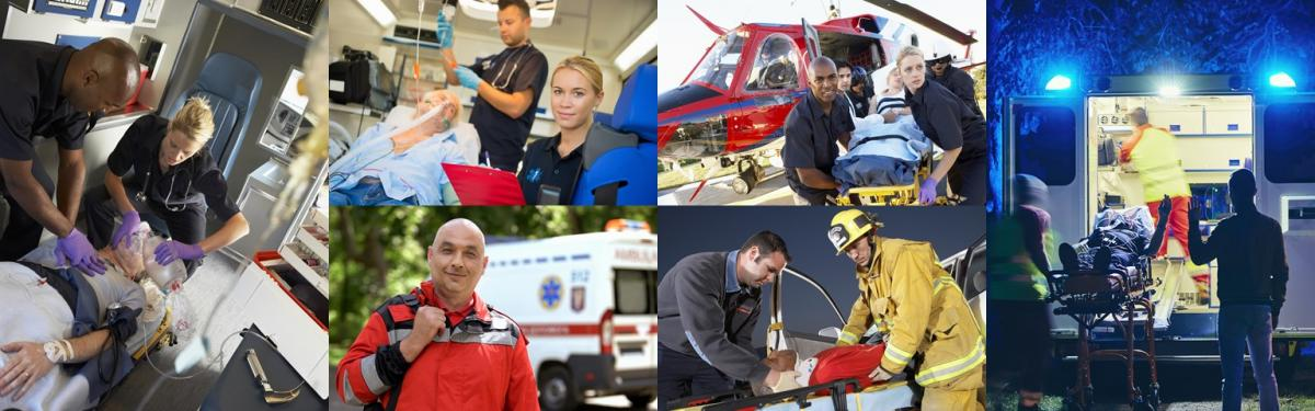 A collage of images of advanced paramedic practitioners providing life-saving critical care. The paramedics are stabilizing patients in ambulances, delivering patients to a hospital from a helicopter, and rescuing people in the field.