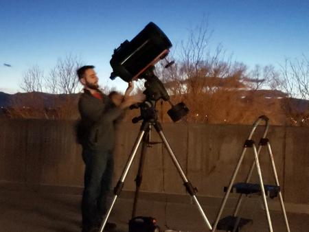ACC student with telescope at Astronomy Star Party