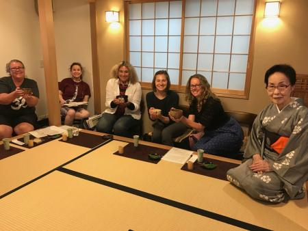 Students at a tea ceremony - Japan 2018