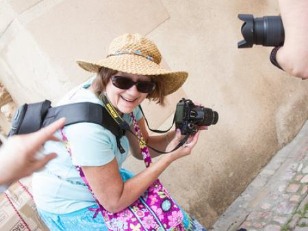 Student taking photos - Italy 2014