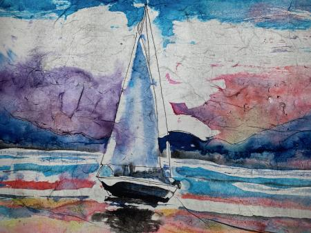 Sheryl A Hutchings -  Sailing at Sunset