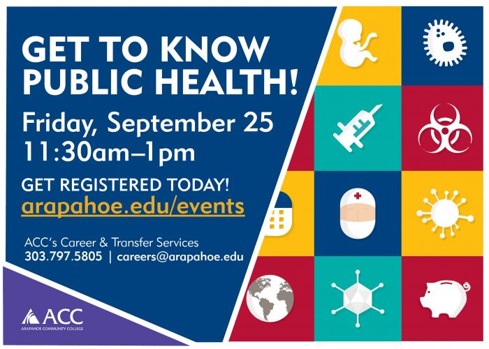 Get to know public health! Friday, September 25 from 11:30am - 1pm