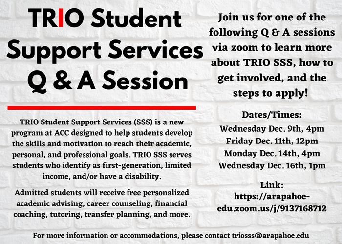 TRIO SSS Q&A Session Flyer