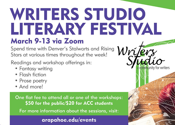 Writers Studio Literary Festival - March 9-13 via Zoom - flyer